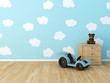 clouds painted baby room