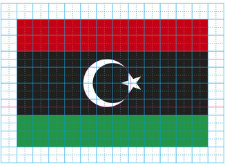Libya flag (perfect proportion) with construction grid