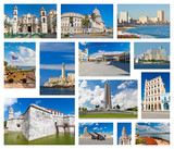 Collage with landmarks of Havana poster