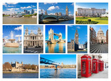 Collage of London landmarks poster