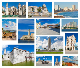 Collage with landmarks of Havana