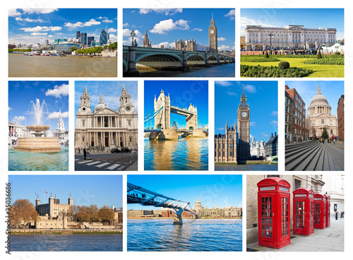Collage of London landmarks