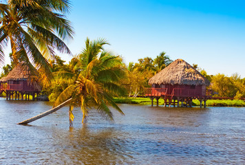 Traditional thatched houses on a lake in Cuba