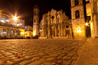 The Cathedral of Havana at night