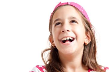 Trendy hispanic girl laughing isolated on  white
