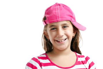 Portrait of a cute latin girl wearing a pink baseball cap