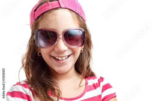 Portrait of a trendy latin girl with sunglasses