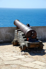 Cannon inside the fortress in Sagres Point Portugal