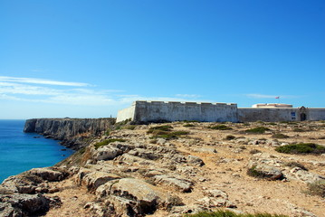 The cliffs at coast near Sagres point in Portugal