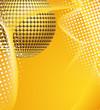 Discoball in gelbem Schleier