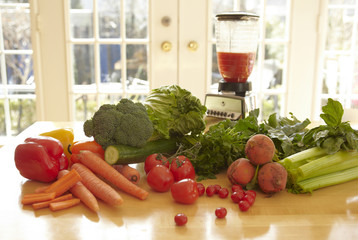 Variety of vegetables with blender