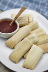 Close up of corn tamales and red sauce on plate