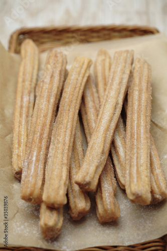 Close up of churros in basket