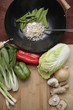 Variety of Asian stir fry ingredients and wok