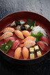 Nigiri sushi combination on platter