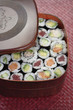 Variety of sushi rolls in box