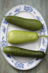 Variety of Asian squash on platter