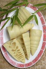 Bamboo shoots on platter
