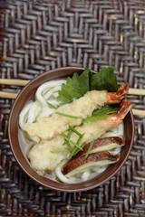 Tempura prawn and Shitake mushrooms in Udon soup
