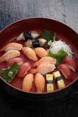 Nigiri sushi combination on platter