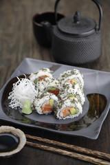 Sushi rolls and tea