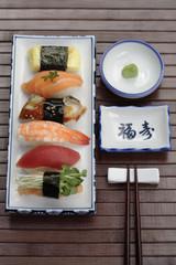 Nigiri sushi and wasabi