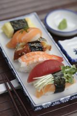 Close up of Nigiri sushi and wasabi