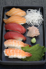 Variety of Nigiri sushi on tray