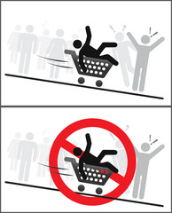 Do not ride in shopping trolley