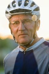 Caucasian man in bike riding sportswear