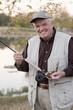 Caucasian man fishing in lake