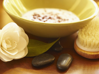 Bowl of ayurvedic facial mask