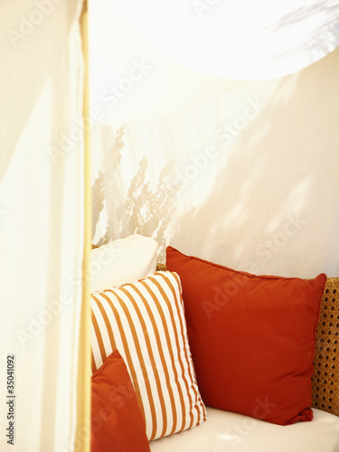 Cabana with decorative pillows