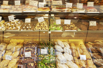 Variety of cookies in display case