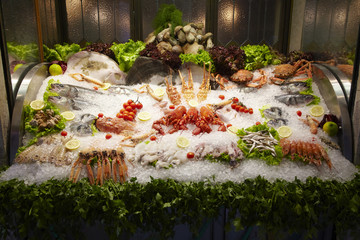 Seafood displayed on ice