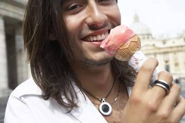 Italian man eating ice cream cone