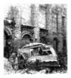 Temple of Jupiter at Baalbek, Bekaa Valley, Lebanon vintage engr