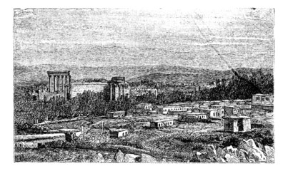 Ruins at Baalbek, Ancient Babylon vintage engraving.