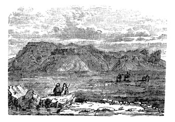 Ruins of the Temple of Zeus Belus in Babil vintage engraving.