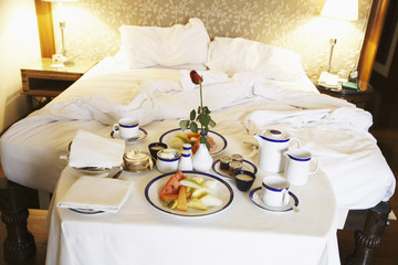 Breakfast room service in hotel room