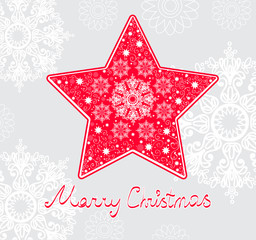 Christmas star illustration - postcard with a red star
