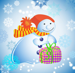 Christmas illustration - background with snowman, gift  and snow