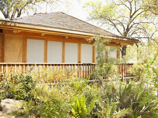 """Yoga and meditation pagoda among lush foliage at a luxury resort located in Napa Valley, California"""