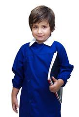 bambino torna a scuola con quaderni