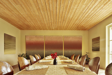Long perspective view of empty banquet room at a luxury resort