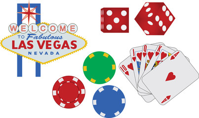 Las Vegas sign and gambling icons