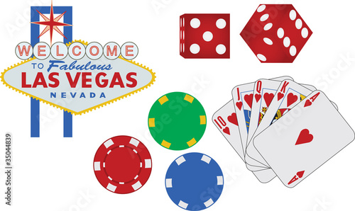 Fototapeta Las Vegas sign and gambling icons