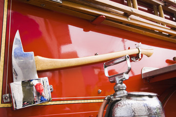 Axe on side of fire truck