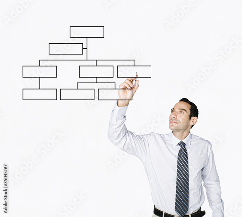 Hispanic businessman drawing flowchart on clear board