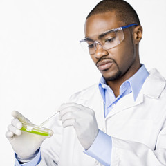 African American scientist working with petri dish